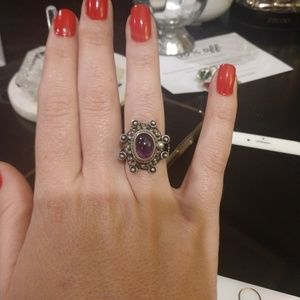 VINTAGE STERLING TAXCO POISON RING WITH AMETHYST